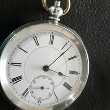 Antique SILVER MENS Pocket WATCH  & KEY