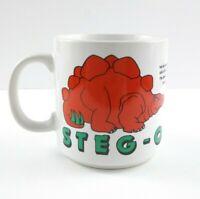 Zak Mug Cup Stegosaurus Steg-O-Saur-Us Dinosaur Coffee 1986 White Red Green