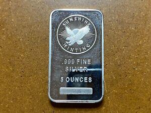 Sunshine Mint 5 oz .999 Silver Bullion Bar