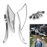 8/10MM Motorcycle Chrome Rearview Side Mirrors Universal For Honda Kawasaki