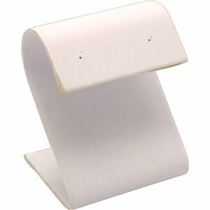 White Leather Earring Display Stand Jewelry Case 2.25""