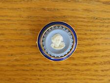 Vintage Wedgwood Blue Jasper Ware Cameo Pendant Brooch18K Enameled Gold Setting