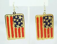 "American Flag Gold Earrings 1.75"" Red White Blue Dangle Plated"