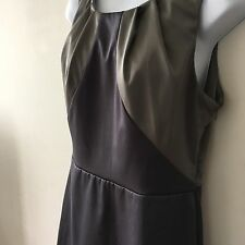 EVIE COLLECTION 12 Dress Grey Blue Satin Sleeveless Modern Cut Formal Smart