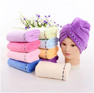 1pc Microfiber Hair Towel Super Fast Drying Hair Turban Hair Wrap Hat Cap 4Color