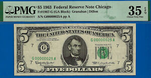 1963 $5 FRN (( Low Serial Number 00000025 )) PMG 35EPQ # G00000025A-