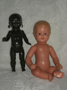 Rares Storch Jungenbebi 32 cm  &  Schildkröt Puppe  22 ½ cm  -  50er Jahre