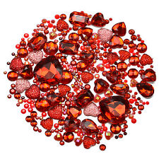 RED Mix/Set of Gems Rhinestones Diamantes Crystal Embellishments Craft Decoden