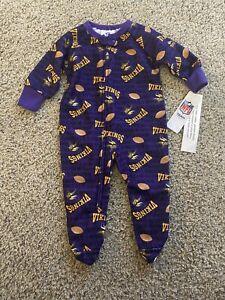 NFL Team Apparel Minnesota Vikings Footed Baby Sleeper Pajamas, 12 Month