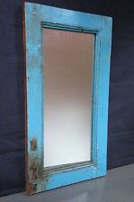 ANTIQUE/VINTAGE INDIAN WOODEN FURNITURE.  DISTRESSED TEAK MIRROR. PEACOCK BLUE.