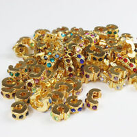 5pcs Czech Crystal Rhinestone Gold European Charm Beads Locks Clip Stoppers