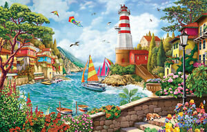 LIGHTHOUSE AND SAILING BOAT by Image World - SunsOut 550 piece puzzle -  NEW