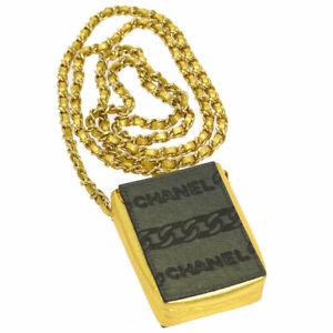 CHANEL CC Chain Mini Shoulder Bag Pouch Khaki Gold Fur Leather RK14244c