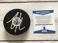 Zack Kassian Signed Autographed Edmonton Oilers Hockey Puck Beckett BAS COA a