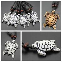 Blessing Black Amulet Jewelry Imitation Yak Bone Necklace Carved Turtle Pendant