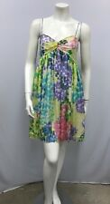 """MILLY 100% SILK DRESS PASTEL TONES SIGNED """"MILLY"""" WATERCOLOR DESIGN SIZE 6"""