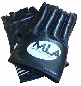 Fingerless Training Padded Gloves - MLA - Box/Sport/Fight/Karate - Black - NEW