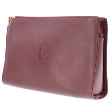Cartier Must Line Logos Clutch Bag Bordeaux Leather Vintage Authentic #AB420 Y