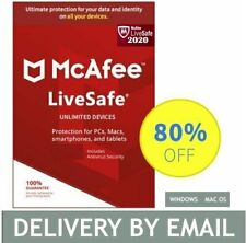 McAfee LiveSafe 2020 Antivirus 5 Devices 1 Year PC, MAC- Delivery by Email*