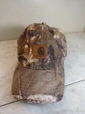 Carhartt Brown Mossy 100% Cotton Hunting Baseball Trucker Cap Hat Adj