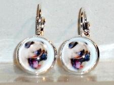 Ohrringe Hund Mops Tiere Damen Ohrschmuck Modeschmuck Leverback Cabochon Glas
