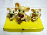 Vintage PRANGE Christmas : 3 Piece ANIMAL BAND Mice - To Stand or Hang Ornaments