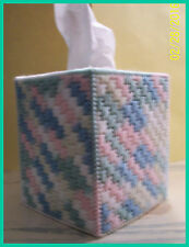 BLUE PINK YELLOW GREEN BABY HANDMADE PLASTIC CANVAS TISSUE BOX COVER TOPPER