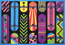 3x5 Sport Rug Skateboarding My Skateboard Collection  Play Time non Skid Backing