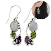 Jewelry Chic Multi-Gemstone Amethyst Ear Stud Peridot Moonstone Earrings