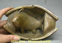 """6,8 """"Qianlong marqués année de bronzedynastie année brosse à poisson Statue"""