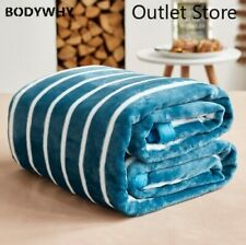 Thick Soft Flannel Plain Bedspread Blanket Throws Fleece Blanket Sofa Bed Stripe