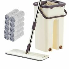 Flat Squeeze Mop And Bucket Hand-Free Wringing Floor Cleaning Wet Or Dry Usage