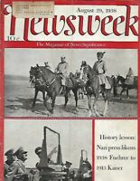 NEWSWEEK Magazine AUGUST 29 1938 -FUEHRER ADOLF HITLER NAZI GERMANY & REICH ARMY