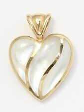 14k Yellow Gold Kabana White Mother of Pearl Necklace Charm Necklace Pendant