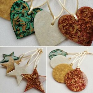 ENAMELLED ENAMEL PAINTED ACRYLIC HANGING CHRISTMAS DECORATIONS HEART STAR BAUBLE