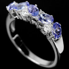 Sterling Silver Genuine Blue Violet Tanzanite Band Ring Size R 1/2   US 9