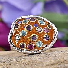 Designer Multi Gemstone 14K YG and Platinum Over Sterling Silver Ring Size 6