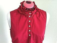 Tommy Hilfiger Blouse Women's Size Large Top Sleeveless Pink Ruffle Neck Button