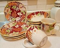 10 pc Home Trends Hibiscus Dinnerware, Salad Plates, Bowls, Cups