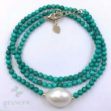 2mm Turquoise Spinel White Baroque Pearl Necklace 18 inches Cultured Aurora