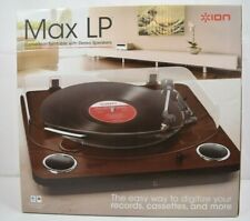 Ion Max LP Conversion Turntable with Stereo Speakers in Dark Brown NEW