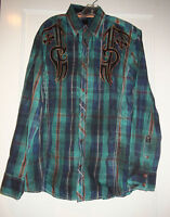 Men's ROAR Adoration Embroidered Snap Down Shirt NEW Green Blue Plaid W517155 XL