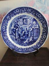 "Delft Boch Freres Belgium  Blue Handpainted Charger Plate Tavern Scene 13 3/4"""