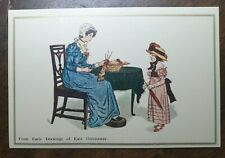 Kate Greenaway From Early Drawings Postcard. Lady, Girl, Knitting