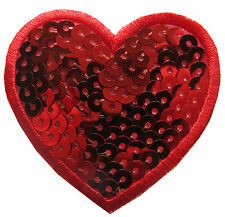 "#4551 2 1/4"" Sequins Red Heart Embroidery Iron On Applique Patch"