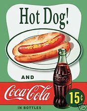 Coca Cola Hot Dog 15c (v1) metal sign (de)