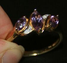 b33 LADIES 9CT GOLD MARQUISE AMETHYST & DIAMOND RING