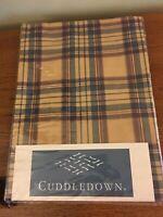 Cuddledown Brown Blue Plaid Standard / Queen Cotton Pillow Sham NEW