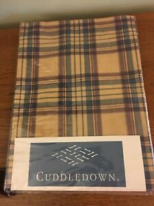 Cuddledown Brown Blue Plaid Standard / Queen Cotton Pillow Sham Cottagecore NEW