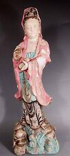 China Chinese Polychrome Pottery Figure of Quan Kwan - Yin ca. 20th century